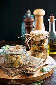 Funghi sott'olio (wild mushrooms preserved in oil, Italy)