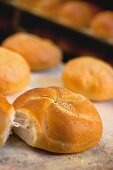 Freshly baked rolls in front of an oven