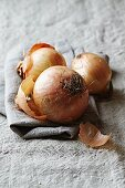 Onions on a linen cloth