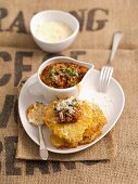 Potato cakes with Bolognese sauce