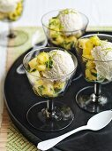 Lime and coconut ice cream with pineapple and mint