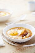 Bread soup with cod and fried egg (Spain)