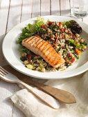 Wild rice salad with salmon