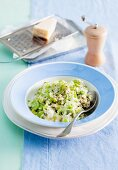 Vegetarian leek risotto with two types of cheese