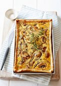 Mushroom and red onion quiche