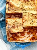 Pumpkin lasagne with béchamel sauce and Parmesan cheese