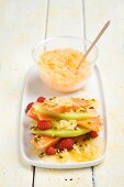 Fruit salad with passion fruit syrup and orange granita