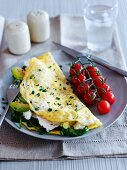 Omelette with avocado and spinach