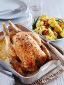 Roast chicken with a cauliflower salad