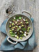 Quinoa salad with edamame, mint and feta