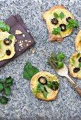 Mini potato and morel mushroom pizzas