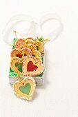 Red and green Christmas heart-shaped biscuits