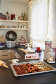 Various freshly baked Christmas biscuits in the kitchen