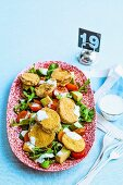 Fried green tomato salad with ranch dressing