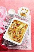 Brulee banana rice custard