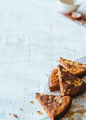 Slices of chocolate nut cake