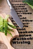 Savoy cabbage cut into strips