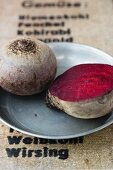 Beetroot on a pewter plate