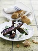 Grilled beetroot with a feta and dill cream and fresh bread