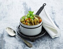 Stew with root vegetables, poultry mince, and pasta