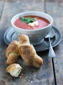 Sesame croissants and tomato soup