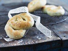 Yeast bread pretzels with sugar