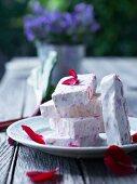 Sliced rhubarb parfait