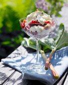 Rhubarb dessert with meringue and cream