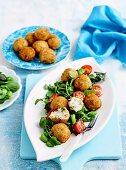 Ham croquettes & broad bean salad