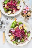 Mixed leaf salads with quails eggs and bean sprouts