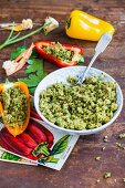 Peppers filled with herb couscous