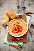 A pepper dip with ajvar and chilli peppers