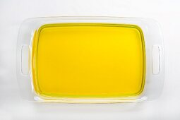 Glass tray of lemon gelatin