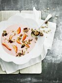 Yoghurt and berry soup with wholemeal cornflakes