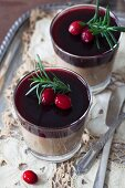 Chicken liver pâté with red wine, cranberry Jelly and rosemary