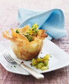 Filo pastry with pickled pearl onions