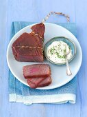 Smoked tuna with a horseradish and dill sauce