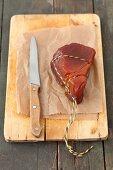 Smoked tuna fish on a chopping board