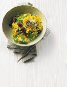 Chervil cream risotto with morel mushrooms