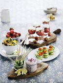 Appetisers and desserts for a buffet
