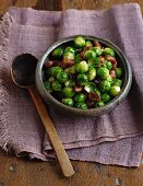 Fried Brussels sprouts with caramelised chestnuts