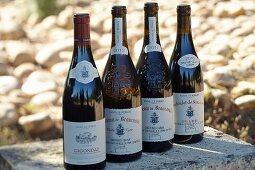 Rotweinflaschen mit Wappen des Weinguts Beaucastel in der Appellation Chateauneuf-du-Pape, Frankreich