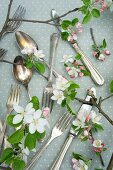 Cutlery with apple blossom