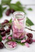 A jar of cherry bonbons