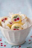 A bowl of cherry sweets