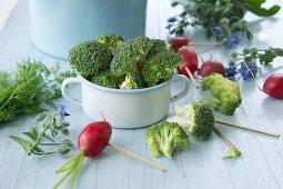 Broccoli, radishes, borage and dill