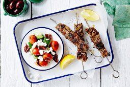 Souvlaki and Greek salad (seen from above)