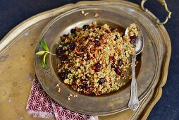 Bulgur salad with cranberries, nuts and mint (Arabia)