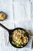 Stir-fried udon noodles with bok choy