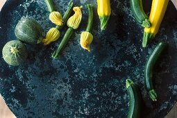 Courgette and courgette flowers